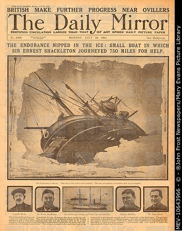 Sir Ernest Shackleton, South Pole expedition, as reported on the front page of the Daily Mirror, showing the Endurance nipped in the ice.
